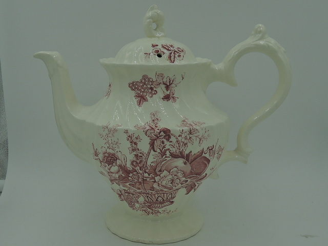 Vintage Myott & Son Bountiful Red Transferware Coffee Tea Pot