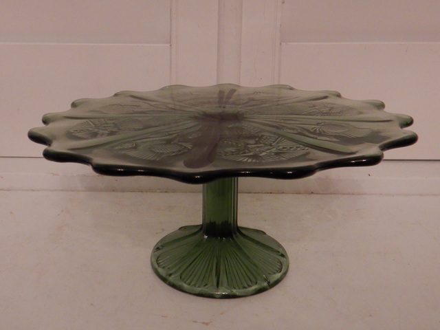 """Vintage Mosser Green Glass Thistle Cake Stand Inverted 10"""""""