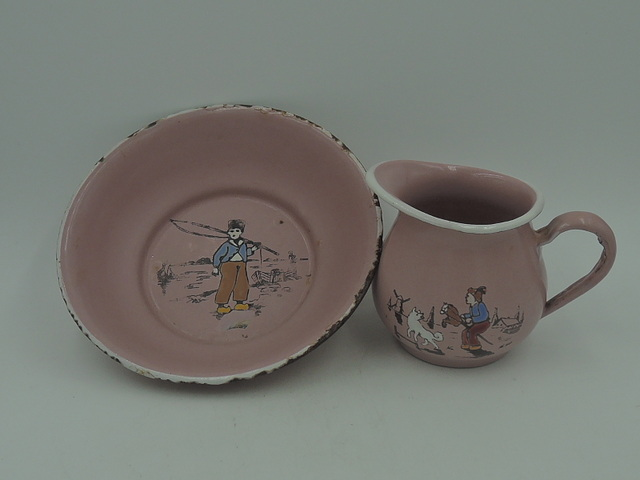 Vintage Childs German Pink Enamelware Pitcher & Bowl Dutch Darling Enamel
