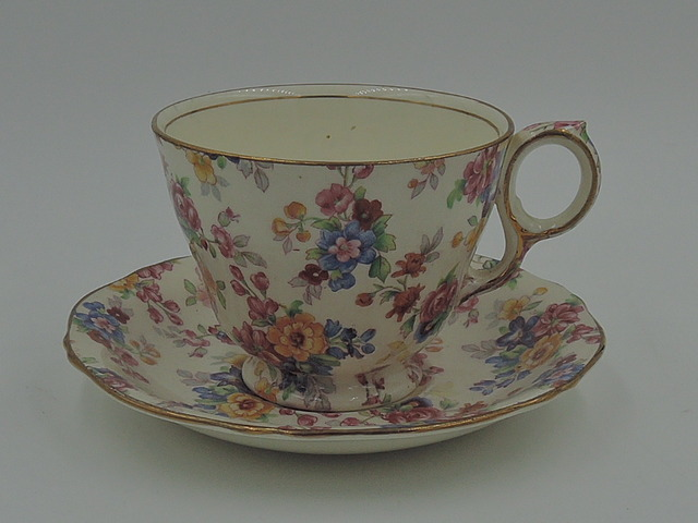 Vintage Royal Winton Chintz Cotswold Cup & Saucer Teacup Raleigh Shape
