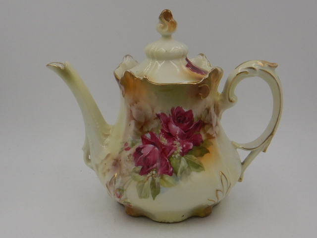 """Antique RS Prussia 6.5"""" Ornate Teapot with Pink Roses Beautiful"""