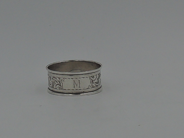 Antique English Sterling Silver Napkin Ring w/Monogram M Initial 1911