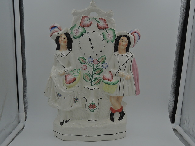 Antique Large Staffordshire Scottish Couple Clock Group Figurine 1850's