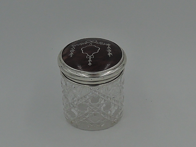 Antique Pique Sterling Silver & Shell Lid & Star Cut Base Glass Vanity Jar 1912