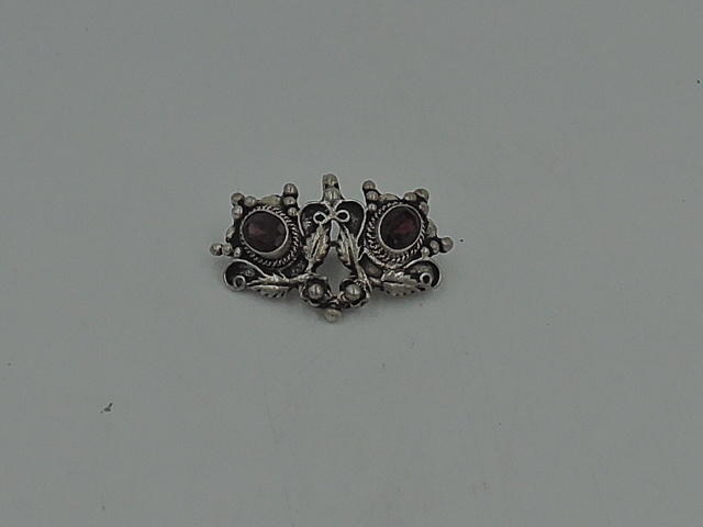 Antique Sterling Silver & Garnet Stone Brooche/Pendant For Necklace