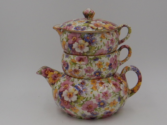 Vintage James Kent Chintz DuBarry Stacked Teapot Stacking Like New Tea For One