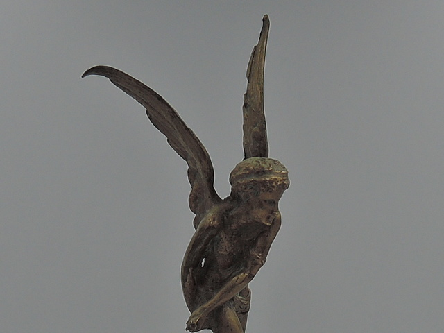 Antique Edwardian Bronze Winged Nymph Cupid Angel Statue Figurine