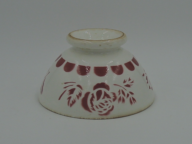 Vintage French Cafe Au Lait Bowl Red & White Florals Pottery 1930's