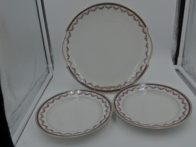 """Vintage Limoges A. Lanternier Cake/Serving Plate & 7"""" Plates Set Pink Rose Garland"""