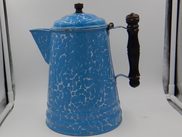 Large Blue Swirl Enamelware Coffee Pot w/Wooden Handle Finial 1920's Enamel