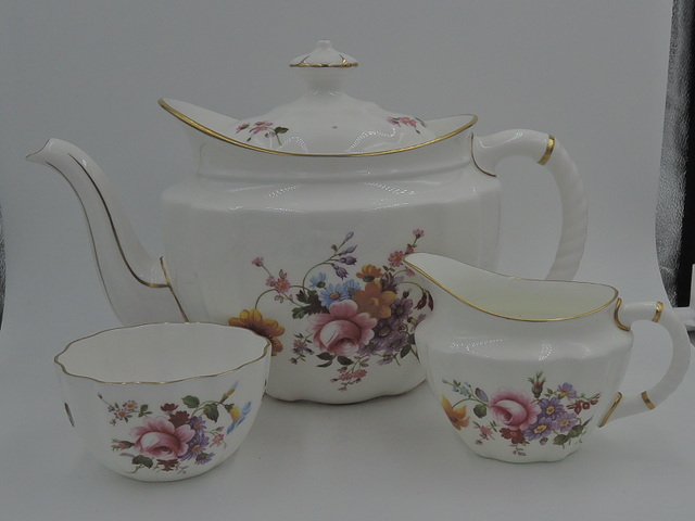 Vintage Royal Crown Derby Posies Large Teapot w/Sugar Bowl & Creamer Tea Set