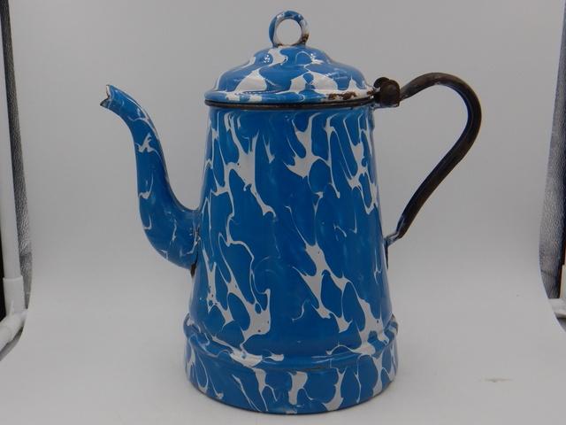 Vintage French Enamelware Blue Swirl Teapot/Coffee Pot Enamel 1930's