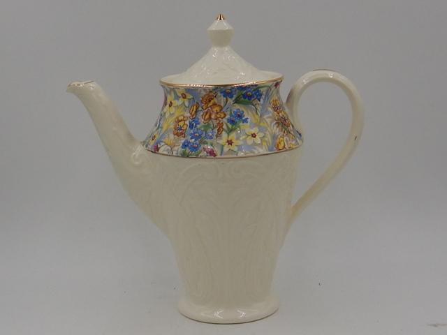 "Vintage Erphila Cheery Chintz Brighton Coffee Pot/Teapot Bavaria 7.75"" High"