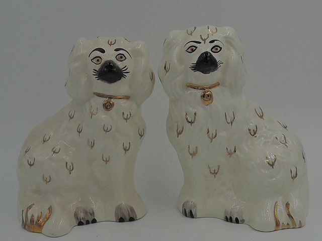 "Vintage Pair of Beswick Black & White Spaniels 5.5"" High"