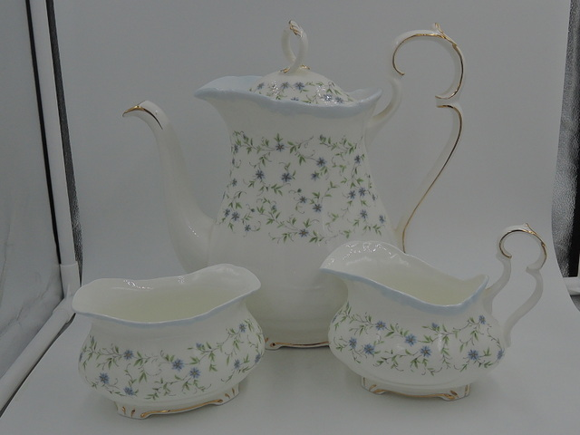 Vintage Royal Albert Caroline Teapot/Coffee Pot Creamer & Sugar Tea Set