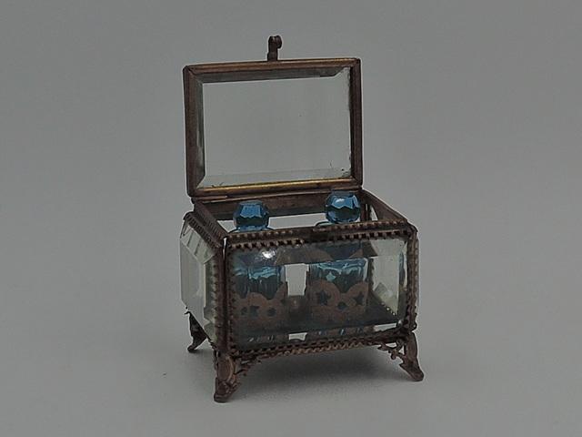 Antique French Ormolu Gilt Box w/Blue Glass Perfume Bottles Caddy