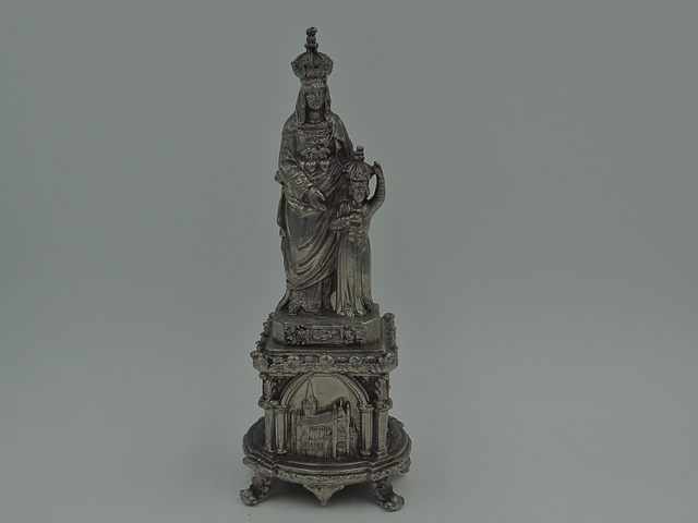 Antique French Metal Virgin Mary & Christ Child Altar Statue Religious