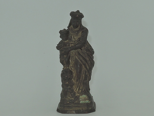 """Antique French Metal Virgin Mary & Christ Child Altar Statue Religious 3.25"""""""