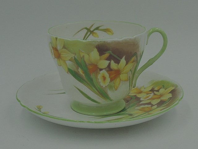 Vintage Shelley Jonquil Daffodil Cup & Saucer Teacup Fine Bone China