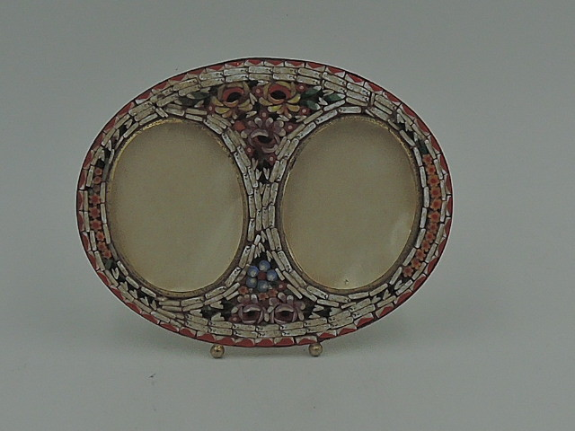 """Antique Italian Mosaic Double Photo Frame 1.75"""" x 1.5"""" Picture"""