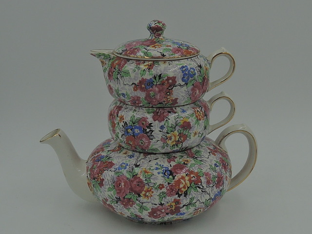 Vintage Lord Nelson Chintz Marina Stacking Teapot Tea For One Stacked