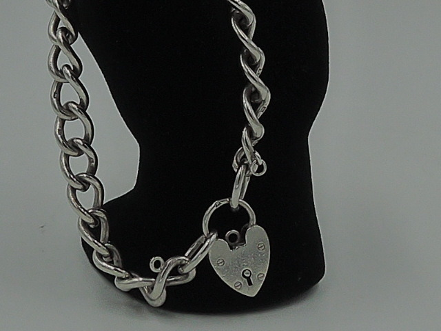 "Vintage English Sterling Silver Heart PadLock Charm Bracelet 7.5"" Chain"