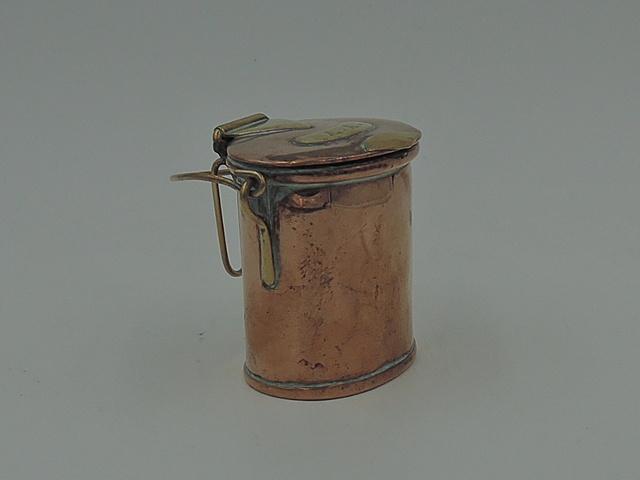 19th C. Antique Victorian Copper & Brass Match Holder Striker Bucket Vesta
