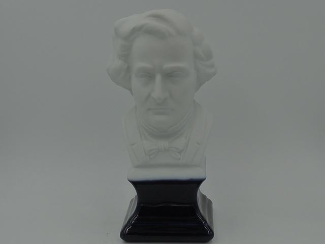 Vintage French Limoges Composer Berlioz Bisque Bust Cobalt Base Figurine
