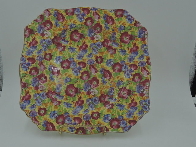 "Vintage Royal Winton Chintz Royalty 8.75"" Square Plate"