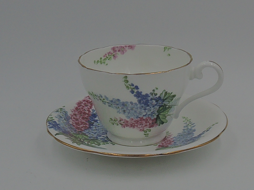 Vintage Aynsley Delphiniums Cup & Saucer Teacup Bone China