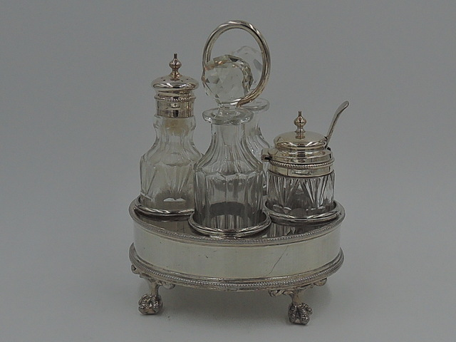 Vintage English Silverplate Condiment Cruet Set Cut Glass Silver