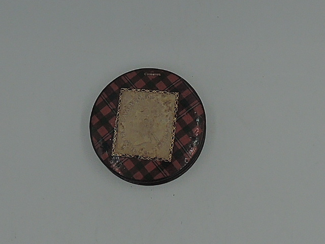 Victorian Antique Tartan Ware Cameron Plaid Round Penny Stamp Box