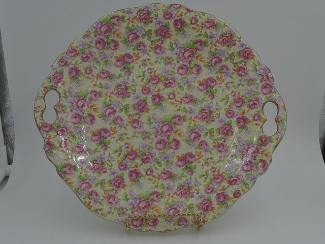 "Vintage Royal Winton Chintz English Rose Handled Tray Platter 10"" Plate"