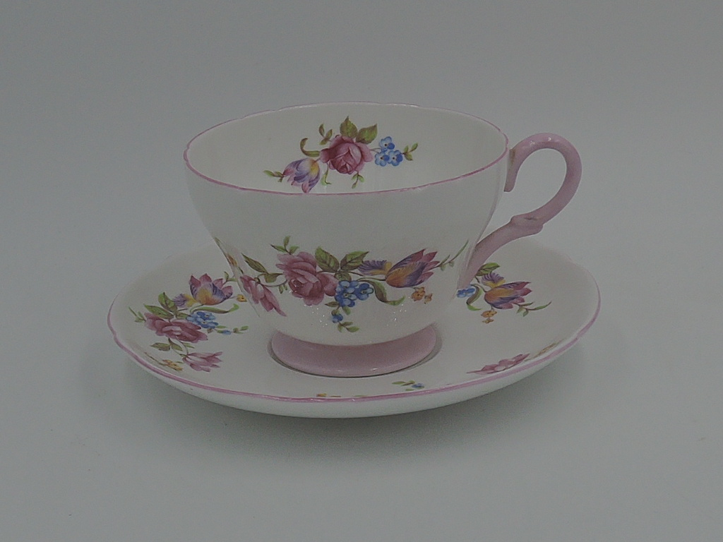 Vintage Shelley Cup & Saucer Pink Rose Bouquet Tulips Henley 2338