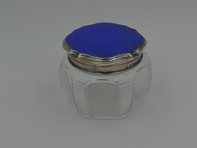 Antique English Sterling Silver & Guilloche Enamel Blue Lid & Cut Glass Vanity Jar