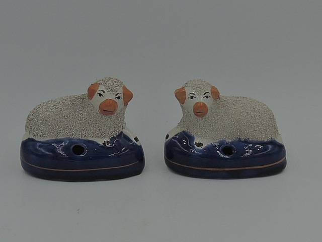 Antique Pair of Staffordshire Recumbent Sheep Pen Holders Figurines Statues