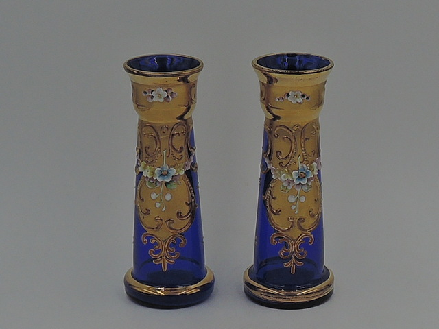 Vintage Pair of Cobalt Blue Bristol Glass w/Enamel & Gilt Vases