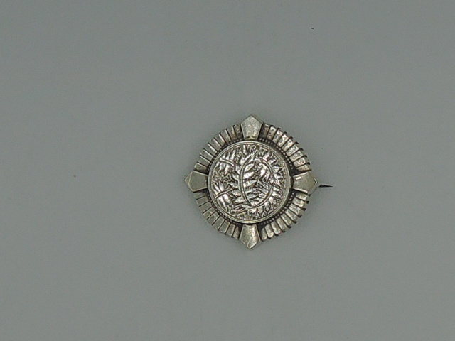 Antique English Sterling Silver Ladies Brooch Pin w/Ferns 1900's