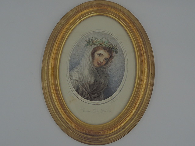 Lady Hamilton Etching Gilt Frame Portrait by G. Romney Signed Hand Colored