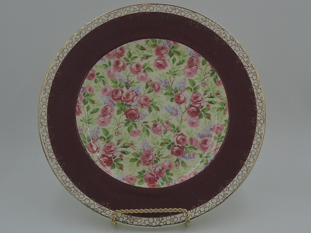 "Vintage Royal Winton Chintz June Roses 9"" Plate Gorgeous! 1930's"