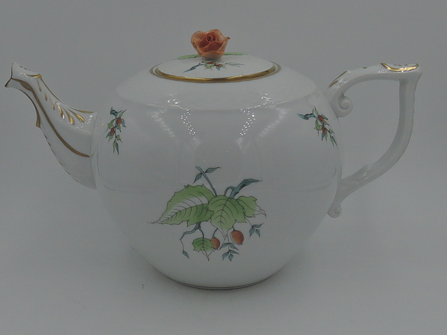 Herend Large Blue & Green w/Peach Rose & Fruit Teapot Gilt