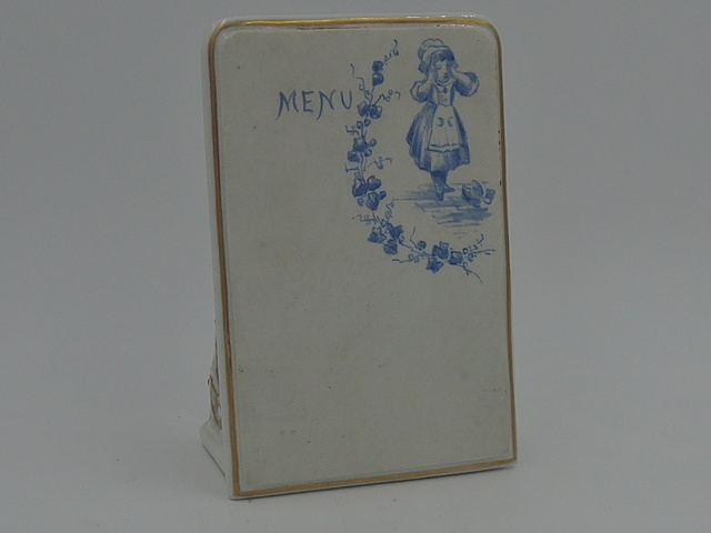 Vintage French Ceramic Menu Stand Board Blue & White Pottery Plaque