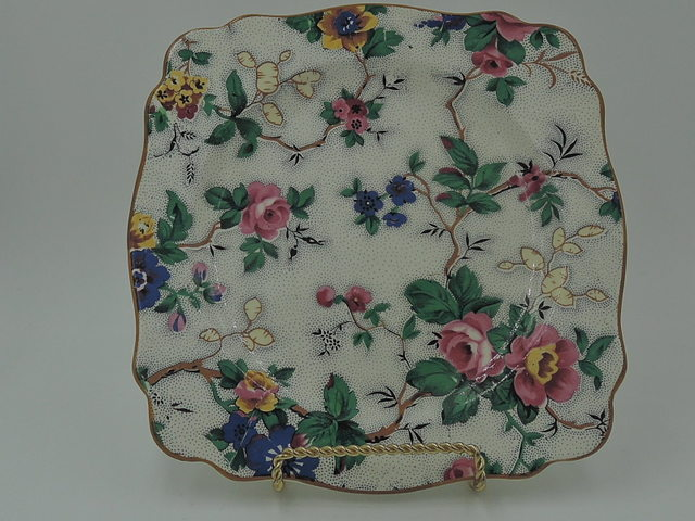"Vintage Crown Ducal Ware Chintz Ascot 7.5"" Square Plate"