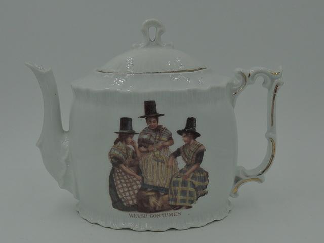 Antique German Porcelain Welsh Costumes Fairing Teapot 1900's