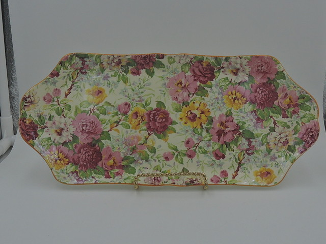 Vintage Crown Ducal Ware Chintz Peony Large Tray Dish Plate Rare!