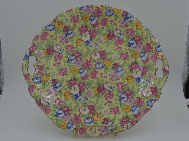 "Vintage Royal Winton Chintz Sweet Pea Handled Tray Platter 10"" Plate"