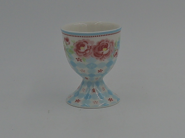 GREENGATE Pink Roses & Blue Eggcup Egg Cup