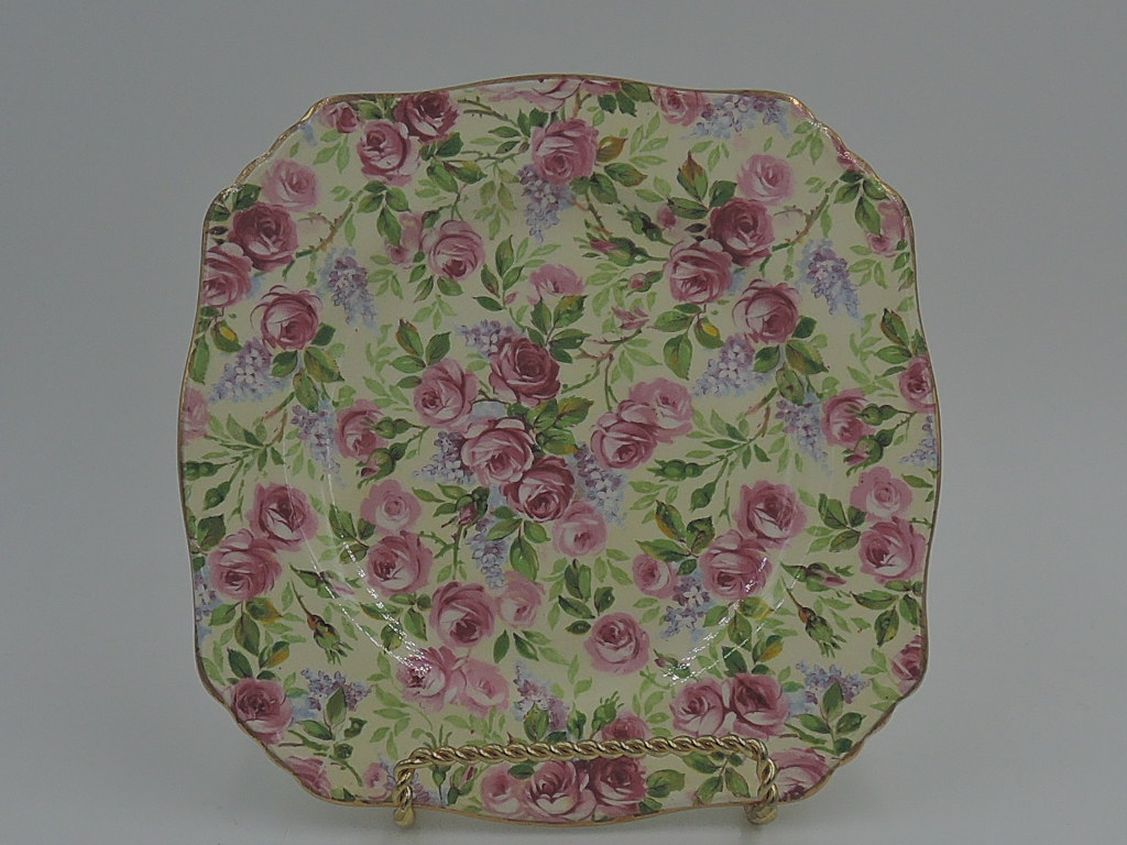 "Vintage Royal Winton Chintz June Roses 6"" Square Plate Rare!"