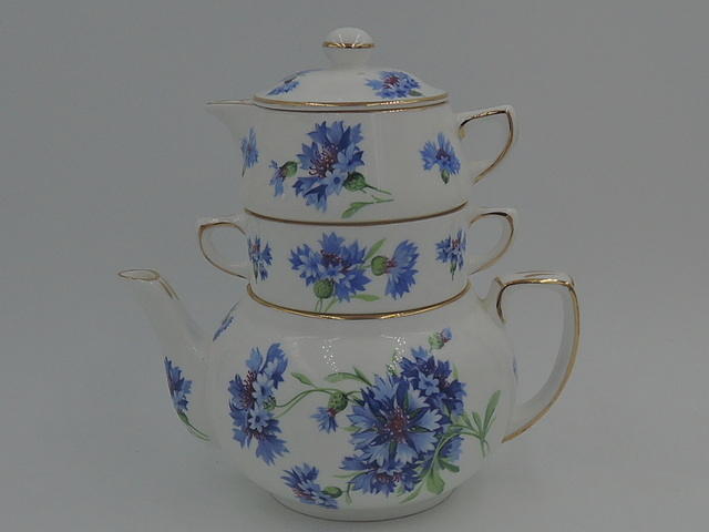 Vintage Hammersley Blue Cornflower Stacked Teapot Stacking Tea For One