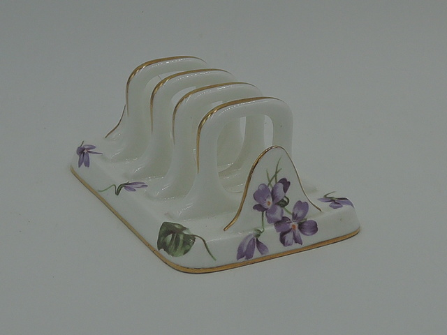 Vintage Hammersley Violets Bone China Toast Rack Server T. Goode & Co.